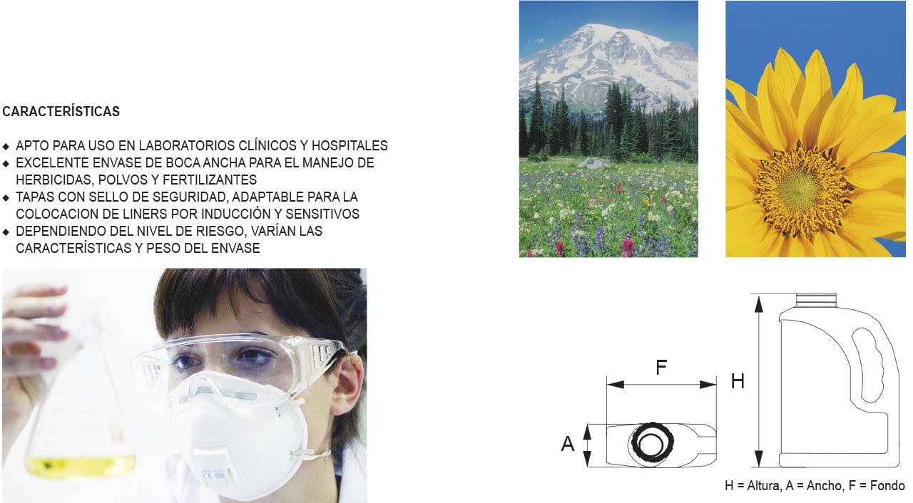 Envases de plástico Herbicidas y laboratorios boca ancha